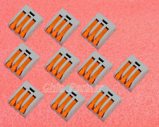 10pcs Spring lever push fit reuseable cable 3 wireBrand New