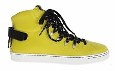 NWT $700 DOLCE & GABBANA Yellow Leather High Top Sneakers Shoes s. EU44 / US11