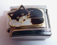 BLACK & WHITE CAT Italian Charm 9mm fits Classic Bracelets I Love my Kitten Pet
