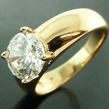 AN436 GENUINE REAL 18K YELLOW G/F GOLD SOLID 1CT DIAMOND SIMULATED LADIES RING