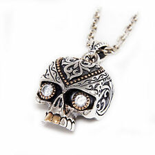 DIAMOND EYES SUGAR SKULL Wz GOLD BRASS 925 STERLING SILVER BIKER PENDANT jo-066w