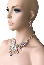 Aurora Borealis Statement Evening Necklace Earrings,Pageant, Drag Queen, Bridal