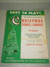 VINTAGE SHEET MUSIC- EASY TO PLAY CHRISMAS SONGS & CAROLS- FAIR CONDITION- H71