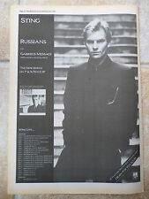 "STING RUSSIANS UK TOUR DATES 1986, N.M.E. ADVERT POSTER 15""X11"""