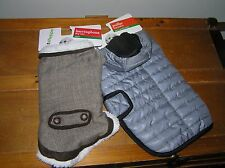 Lot of 2 Pet Shoppe Small Brown Herringbone Gray & Black Puffer Dog Jacket –