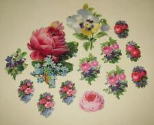 LOT~13 ANTIQUE 1880s Victorian DIE-CUT Chromo SCRAPS Floral BOUQUETS Sprays PINK