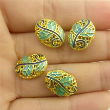 18535 2pcs Enamel Mini Leaf Gold Oval Cloisonne 14mm Loose Spacer Beads Copper