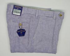 Bills Khakis 100% Linen Herringbone Pants Purple Unhemmed M3 Slim Men's 33 NWT