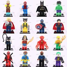 16pcs Super Hero Dc Comics Marvel Deadpool  Flash X-Man Building TOYS Fits LEGO