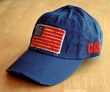 Caterpillar Navy Blue Distressed Flag Patch Cat Hat / Cap