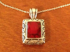 Possibly Vintage Sterling Silver Pendant Necklace w/ Red Glass or Stone