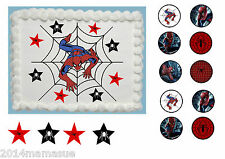 "SPIDERMAN WEB 7,5 ""Round Square A4 commestibile glassa CAKE TOPPER & 18 decorazioni per cupcake"