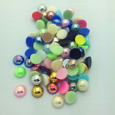 DIY 100pcs 8mm Half Round Pearl Bead Flat Back Scrapbook for Craft Mixed Color