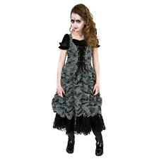 SPIDER COFFIN PRINCESS Costume Silver Gray Black Dress Girl Child Large 12 14