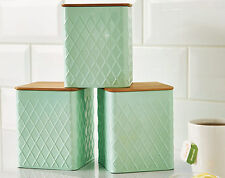 SET OF 3 PASTEL MINT KITCHEN CANISTERS WITH BAMBOO LIDS - TEA COFFEE SUGAR - NEW
