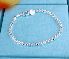 "Promotion Price 925Sterling Silver Round Grid Unisex Chain Bracelet 8"" ZH157"