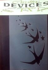 Swallows And Stars Design.Hair & Body Art Multi Media Stencil Device