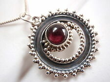 Red Garnet Tribal Style Necklace 925 Sterling Silver Corona Sun Jewelry