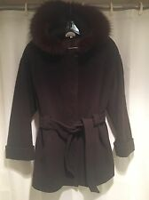 Huge Red Brown FOX Fur HOOD TRIM Lorovi Stroller WOOL Coat Vintage Belt JACKET M