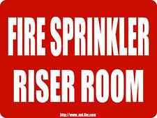 """Fire Sprinkler Riser Room 12"""" x 9"""" ALUMINUM SPRINKLER SIGN"""