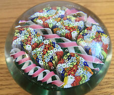 Fratelli Toso 1970 Glass Murano Italy Paperweight Canes Floral Millefiori Ribbon