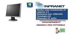 """MONITOR DISPLAY PC LCD 19"""" POLLICI 4:3 GRADO A USATO RICONDIZIONATO GRIGIONERO"""