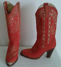 ZODIAC USA Women's Red (Gold color) Suede Cowboy/Western Boots Size 5 M