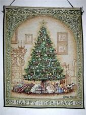 Christmas Tree Happy Holidays Tapestry Panel Fabric Wall Hanging New