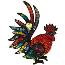 CRYSTAL BLACK CHICKEN ROOSTER PIN BROOCH PENDANT MADE WITH SWAROVSKI ELEMENTS