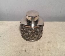 Antique English Birmingham Sterling Silver Floral Vine Repousse Tea Caddy 1899
