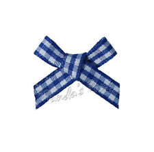 7mm and 15mm Gingham Checkered Tartan Ribbon Bows - 10 Colours, Choose Pack Size