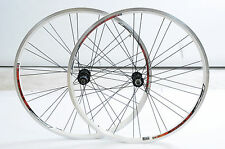 "PAIR 26"" RIM  559 - 19 MTB WHEELS 8/9 CASSETTE HUB WHITE DUAL WALL Q/R 28 SPOKE"