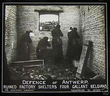Glass Magic Lantern Slide DEFENCE OF ANTWERP BELGIUM WWI