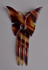 Antique Victorian hand cut out faux tortoiseshell celluloid Butterfly Hair Comb