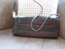 Jane Shilton black faux leather handbag with gold detail