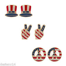 Stars and Stripes Gold Tone Stud Earrings Set of 3 NWT