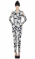 LACE PRINT SEXY JUMPSUIT  AGAIN COLLECTION MADE IN LA SWING CUT OUT CATSUIT XS