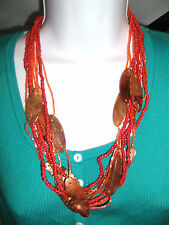 "COLDWATER CREEK Multi orange strand  w/ brown plates 22"" - 24 "" Long Necklace !!"