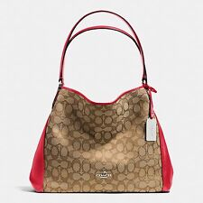 NWT COACH EDIE SHOULDER BAG 31 SIGNATURE JACQUARD LEATHER 36466 RED KHAKI