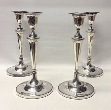 Set of 4 Georgian Candlesticks in Old Sheffield Plate Circa 1780. Stock ID 8709