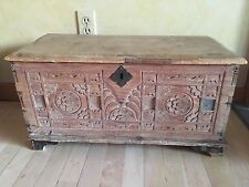 Antique Guatemalan Hand Carved Shabby Chic Small Lidded Chest Trunk