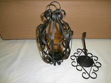 VINTAGE ANTIQUE WROUGHT IRON HANGING WALL MOUNTED PORCH CANDEL LIGHT HOLDER