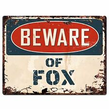 PP1335 Beware of FOX Plate Rustic Chic Sign Home Room Store Decor Gift