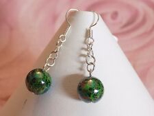 Silver Plated 12mm Multicolor Abstract Green Black Beads Hook Dangling Earrings