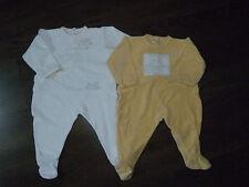 PETIT BATEAU, lot 2 PYJAMA DORS-BIEN éponge blanc jaune bébé GARCON 12 MOIS