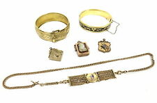 MIXED LOT ANTIQUE VICTORIAN 10K GOLD FILLED FMCO BRACELET SWIVEL LOCKET FOB