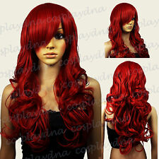 28 inch Hi_Temp Series Dark Red Curly Long Cosplay DNA Wigs 70DDR