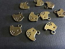 20 X Bronze Sparrow bird charms For Earrings Pendant Necklace Brass