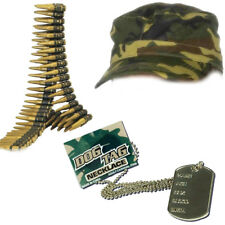 Womens Army Soldier Instant Kit Bullet Belt Cap Dog Tag Hen Accessories Sexy War