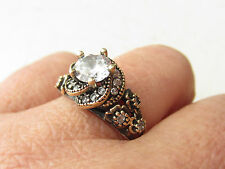 925 Sterling Silver Turkish Authentic Hurrem Sultan White Topaz Ring Size 9